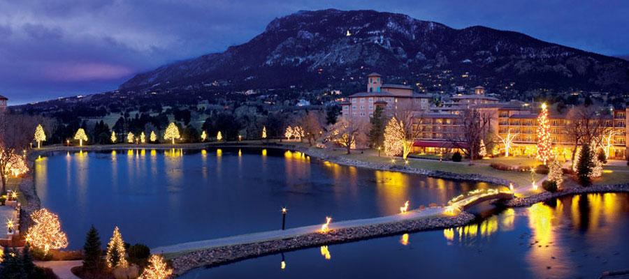 Broadmoor Resort at night